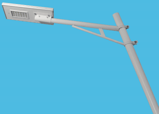 Integrated solar street lights installed on the pole arms.